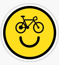 I Love Cycling - Smiley Emoji - Happy Bike Face Sticker