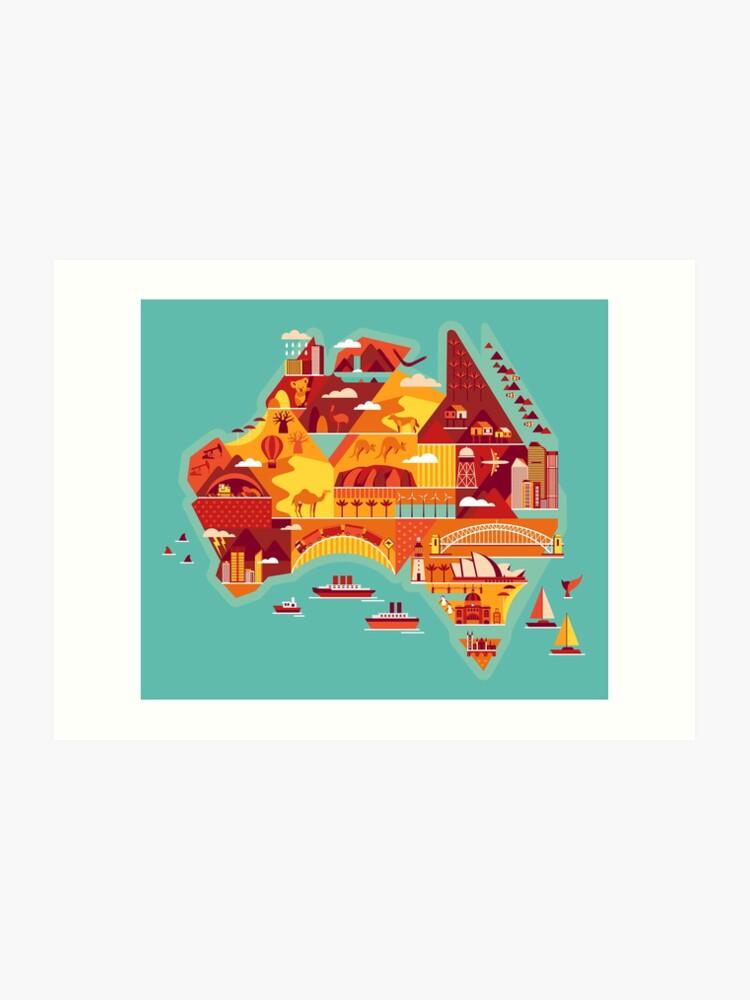 Australia Map Art.Cartoon Map Of Australia Art Print