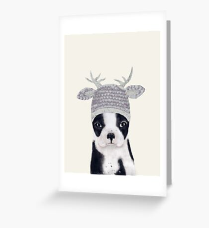 little boston ooh deer Greeting Card