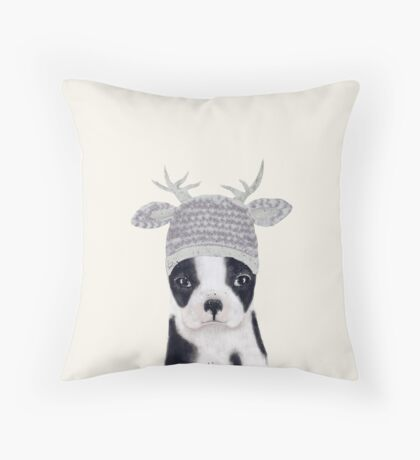 little boston ooh deer Throw Pillow