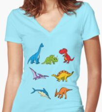 Friendly Dinosaurs Women's Fitted V-Neck T-Shirt