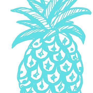 Aqua Pineapple, turquoise, pineapple, tropical by MagentaRose