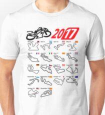Calendar 2017 MotoGp circuits white Unisex T-Shirt