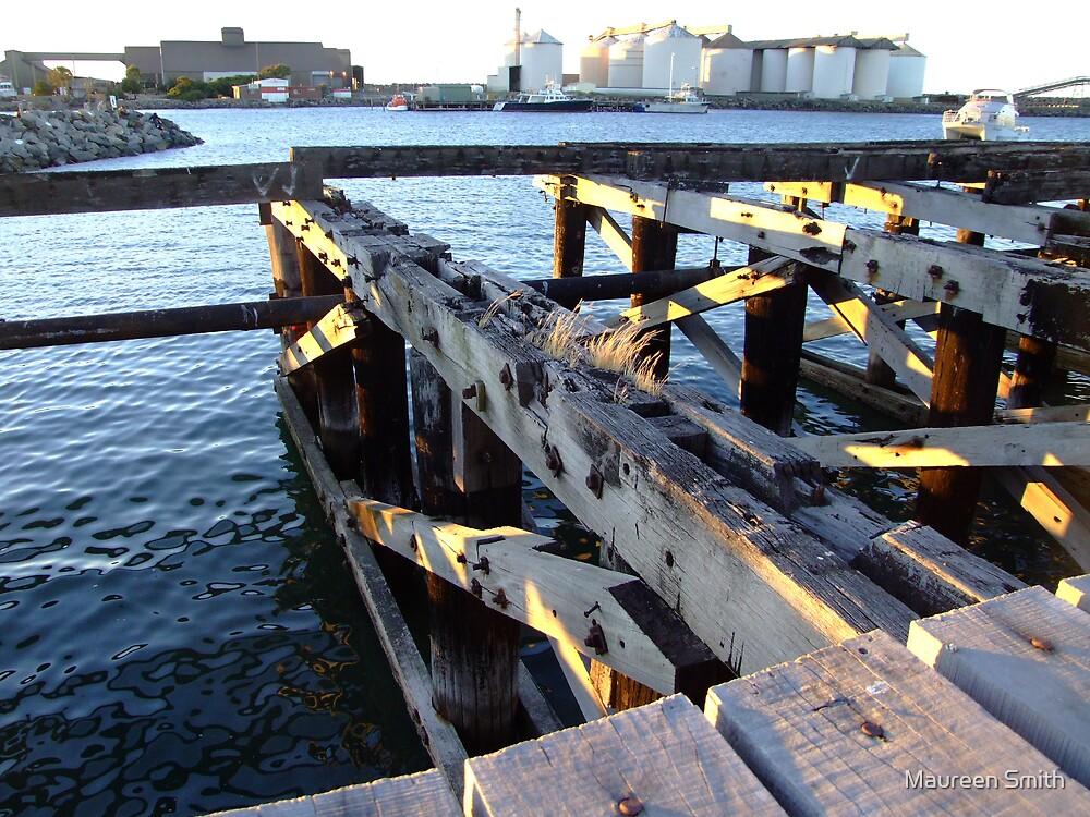 Jetty remains, Bunbury Harbour, Western Australia by Maureen Smith