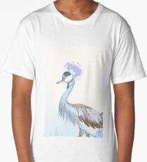 Grey Crowned Crane -Lilac Long T-Shirt