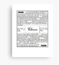 Quotes from Cheers - Doctor Frasier Crane Canvas Print