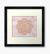 Rose gold mandala - pink marble Framed Print