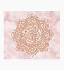 Rose gold mandala - pink marble Photographic Print