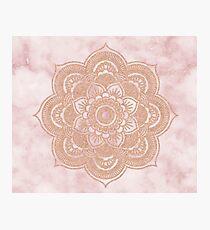 Rose gold mandala - pink marble Photographic Print