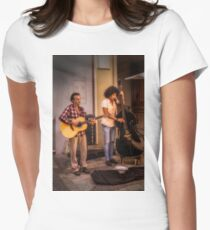 Street buskers in Malaga Women's Fitted T-Shirt