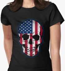 Vintage USA Flag Skull Design Womens Fitted T-Shirt