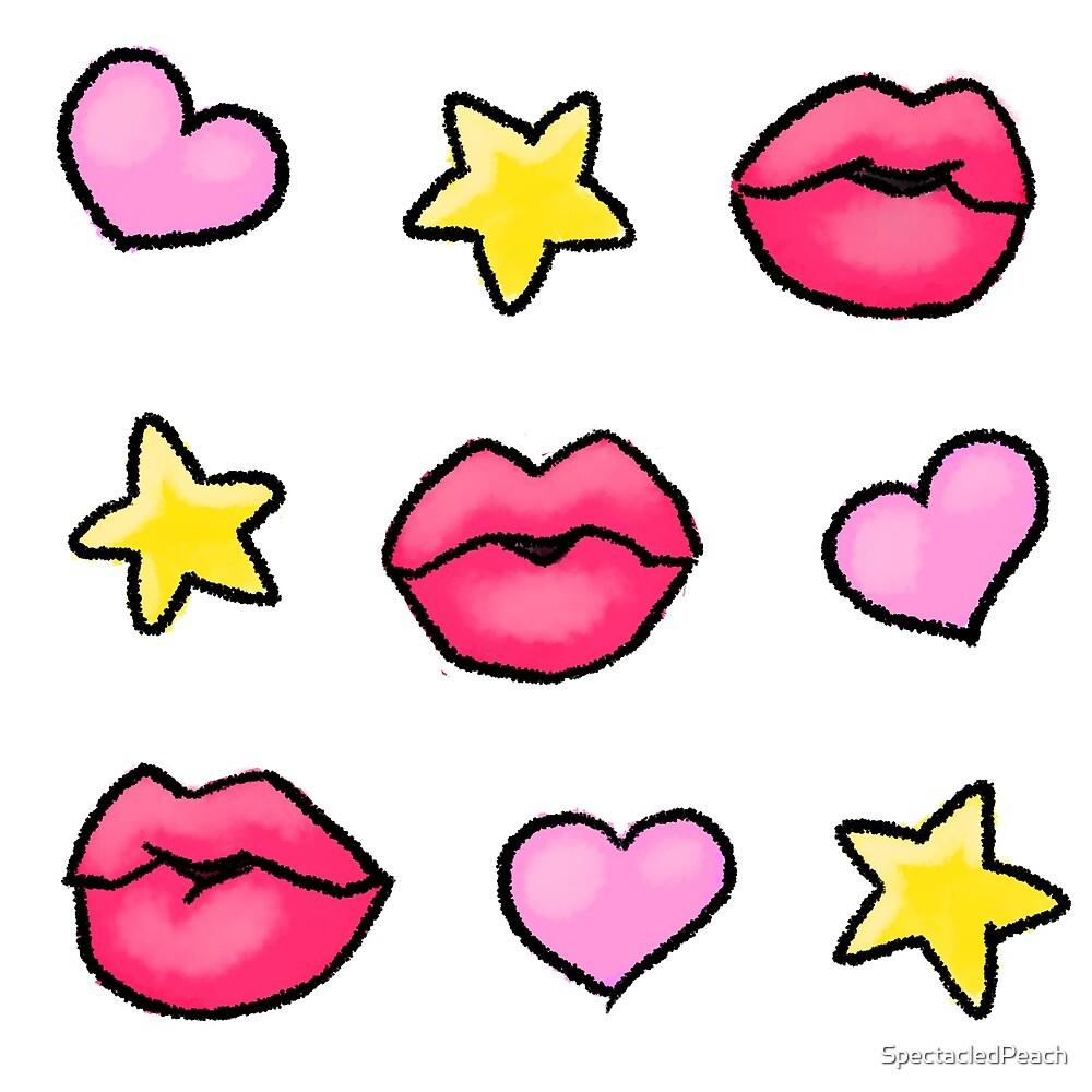 Kawaii Kiss Stars Hearts by SpectacledPeach
