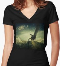 Planet of Giants Women's Fitted V-Neck T-Shirt