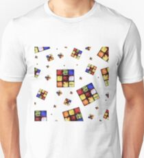 Zombie Funky Cube Pattern White BG By BoardZombies T-Shirt