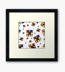 Zombie Funky Cube Pattern White BG By BoardZombies Framed Print
