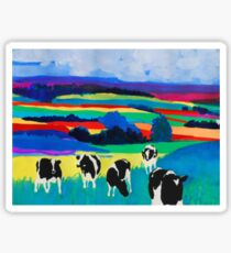 Long Grass Cows Sticker