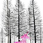 pink unicorn in forest  by ColorandColor