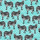 Zebramuster, Kinder Kunst, lustige Kunst, Tier, Kinderzimmer, moderne Kunst, Wandkunst, Print, minimalistisch, modern, Humor, schwarz und weiß, blaue Chevron von juliaemelian