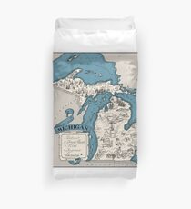 Vintage 1926 Michigan state map - Christmas gift idea Duvet Cover