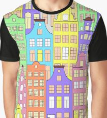 pattern with colorful building Graphic T-Shirt