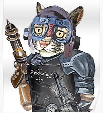 Naughty Pilot Cat with Laser Gun and Heavy Armor Poster