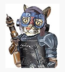Naughty Pilot Cat with Laser Gun and Heavy Armor Photographic Print
