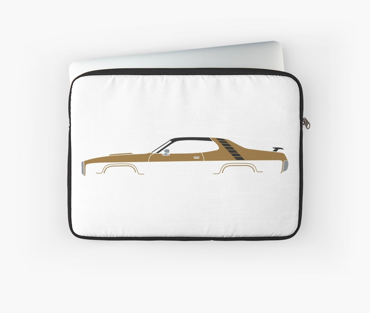 1971 muscle car silhouette in gold with wing and graphics | american