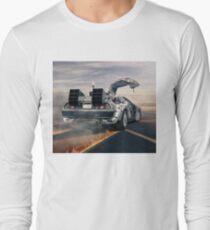 delorean time machine oil painting fan art Long Sleeve T-Shirt