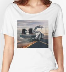 delorean time machine oil painting fan art Women's Relaxed Fit T-Shirt