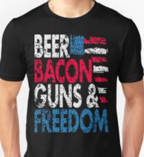 Beer Bacon Guns and Freedom Distressed USA Flag - Best Design Unisex T-Shirt