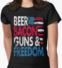 Beer Bacon Guns and Freedom Distressed USA Flag - Best Design Womens Fitted T-Shirt
