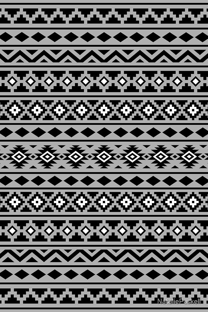Aztec Essence Pattern II Black White Grey by NataliePaskell