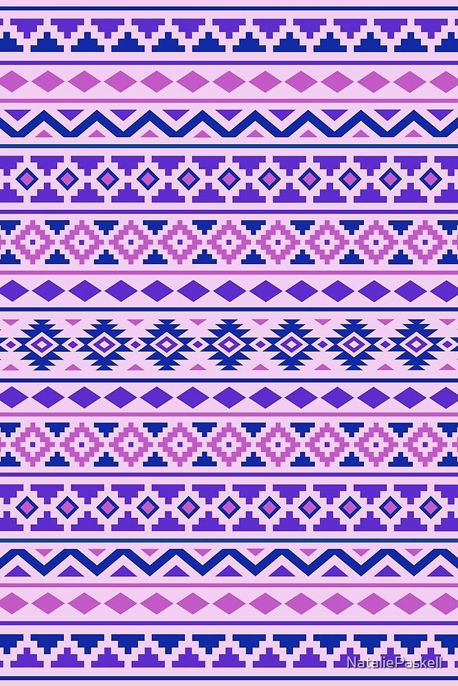 Aztec Essence Pattern II Pinks Blue Purple by NataliePaskell