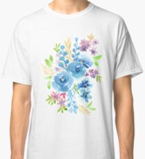 Blue Flowers in Watercolor Painting Classic T-Shirt