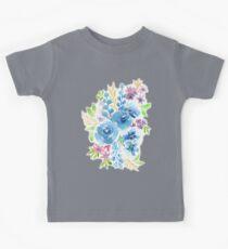 Blue Flowers in Watercolor Painting Kids Tee