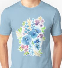 Blue Flowers in Watercolor Painting Unisex T-Shirt