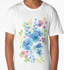 Blue Flowers in Watercolor Painting Long T-Shirt