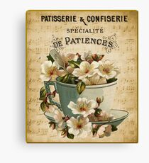 vintage french sign patisserie bakery coffee shop Canvas Print