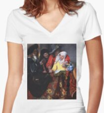 Johannes Vermeer - The Procuress 1656 Women's Fitted V-Neck T-Shirt