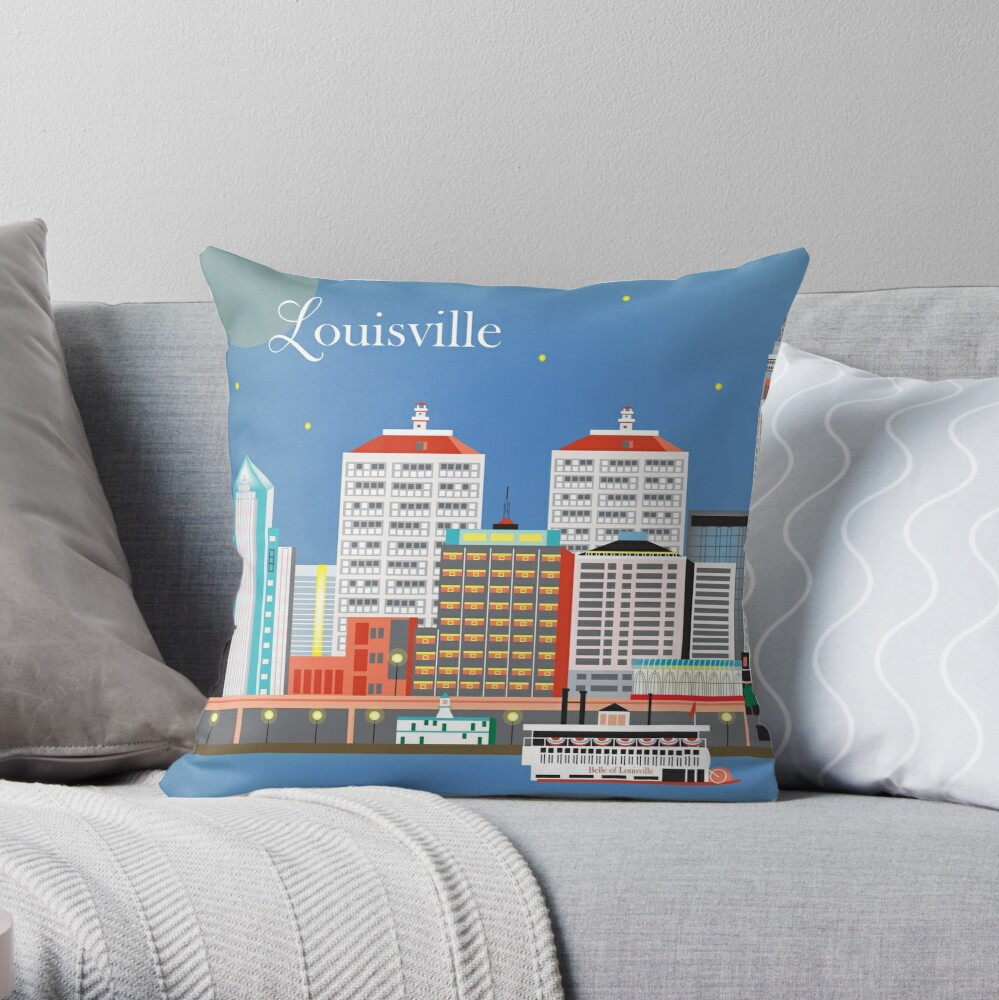 Louisville, Kentucky - Skyline-Illustration durch lose Blumenblätter Dekokissen