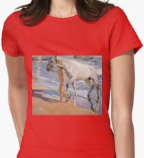 Joaquin Sorolla Y Bastida - The Horse s Bath1909 Womens Fitted T-Shirt