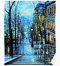 Montmartre, Paris Frankreich, in der Nacht Poster