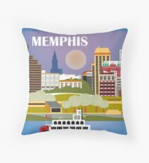 Memphis, Tennessee - Skyline Illustration by Loose Petals Throw Pillow