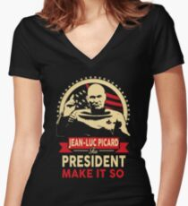 Jean-Luc Picard for President Women's Fitted V-Neck T-Shirt