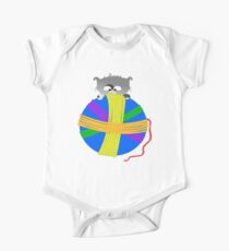 Kitten With Yarn Ball One Piece - Short Sleeve