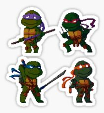 pixel turtles set Sticker