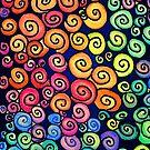 Vibrant Spirals on Dark Blue Ground by CarolineLembke