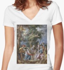 Joachim Antonisz. Wtewael - The Holy Family With Saints And Angels Women's Fitted V-Neck T-Shirt