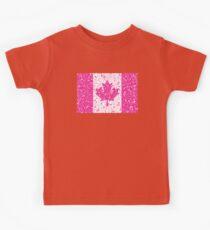 Pink Floral Canadian Flag Kids Tee