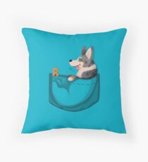 Pocket Cardigan Welsh Corgi Blue Merle Throw Pillow